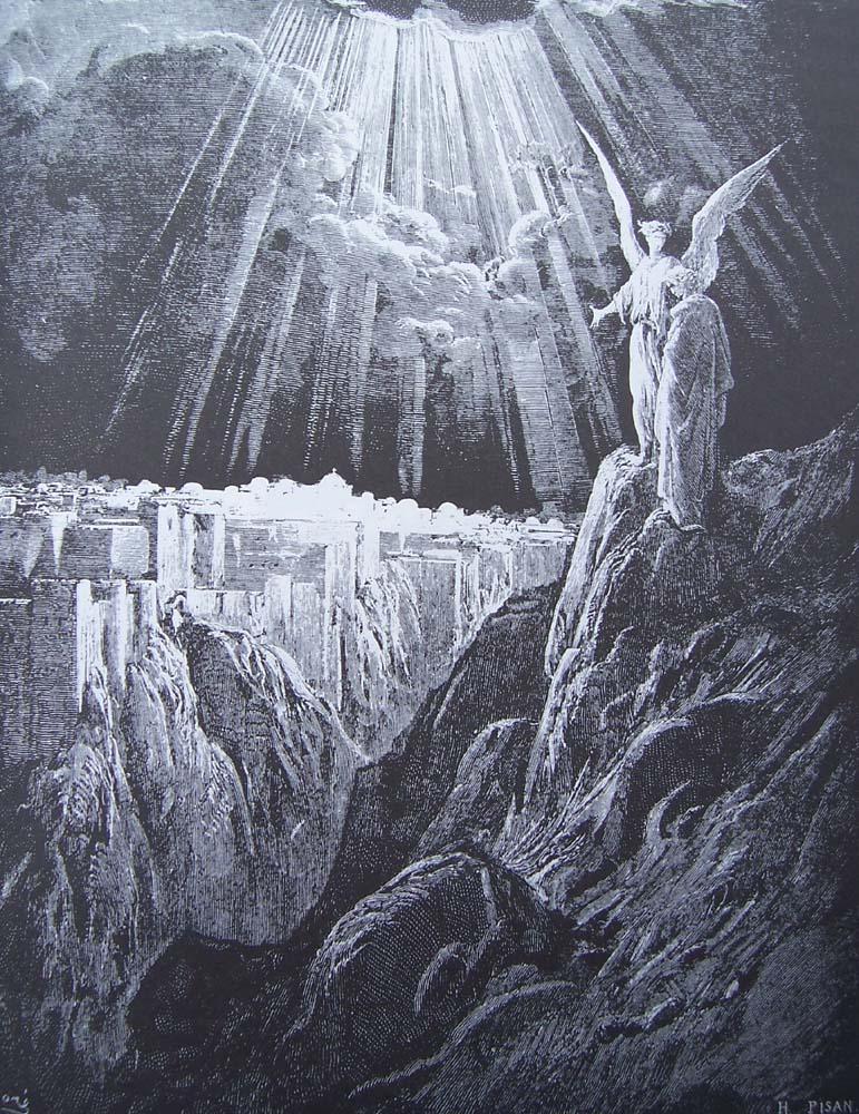 gravure dore bible - l ange montre jerusalem a saint jean