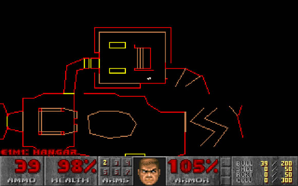 Carte de Doom 2, en pleine exploration