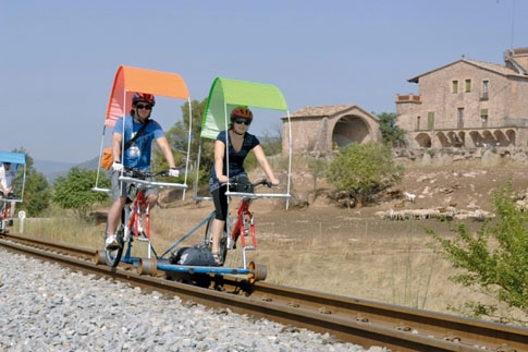 Pédalo sur rail en Catalogne