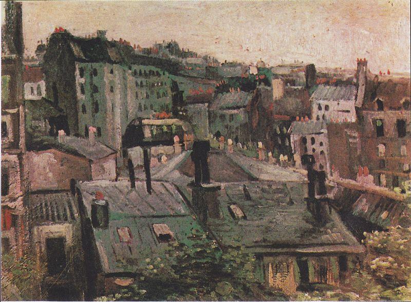 800px-Van_Gogh_-_Blick_auf_die_Dächer_von_Paris