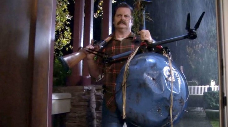 Ron Swanson - Parks & Recreation - Drone Hunting