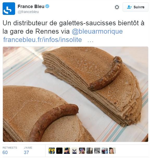 France Bleu sur Twitter Un distributeur de galettes-saucisses bientôt à la gare de Rennes via @bleuarmorique httpst.coKYxMJw6L2n
