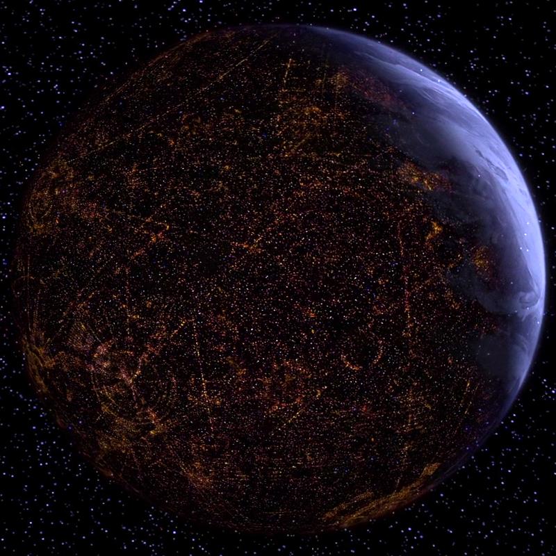 Coruscant vue de l'espace (Coruscant en calcul)